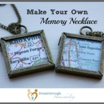 The idea for this memory necklace came after I went to a craft fair and saw these charms that were madeof little maps. So adorable - but way overpriced!