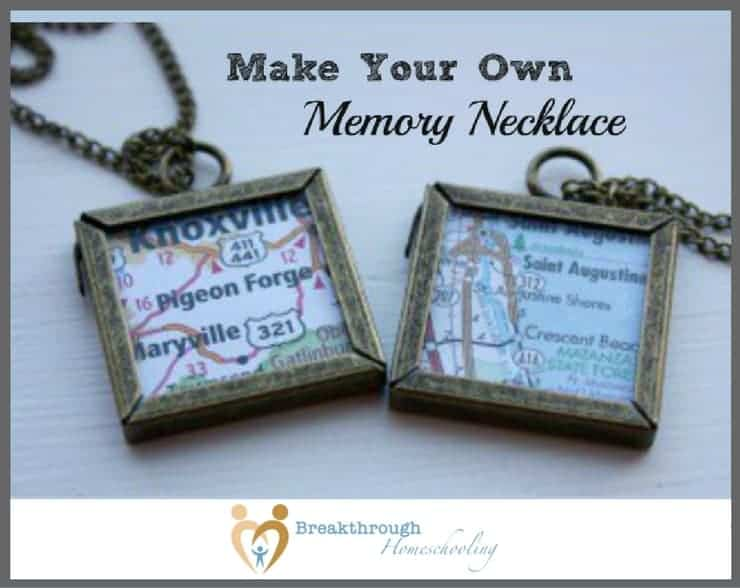 The idea for this memory necklace came after I went to a craft fair and saw these charms that were made of little maps. So adorable - but way overpriced!