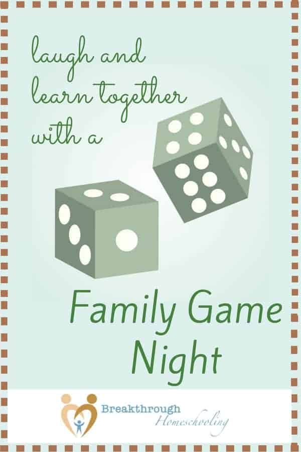 "Whether you're playing with a big group of friends, your immediate family, or doing it during ""date time"" with the kiddos or your hubby, family gamy night is an enjoyable, low-stress way to start some good conversations and build relationships."