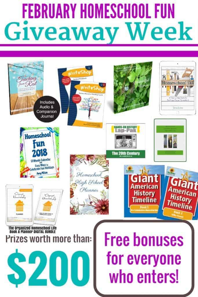 "ALL THIS WEEK! Enter to win a BUNCH of products to help banish the ""mid-winter blues""! Click on the link to enter at HappyHomeschoolNest!"