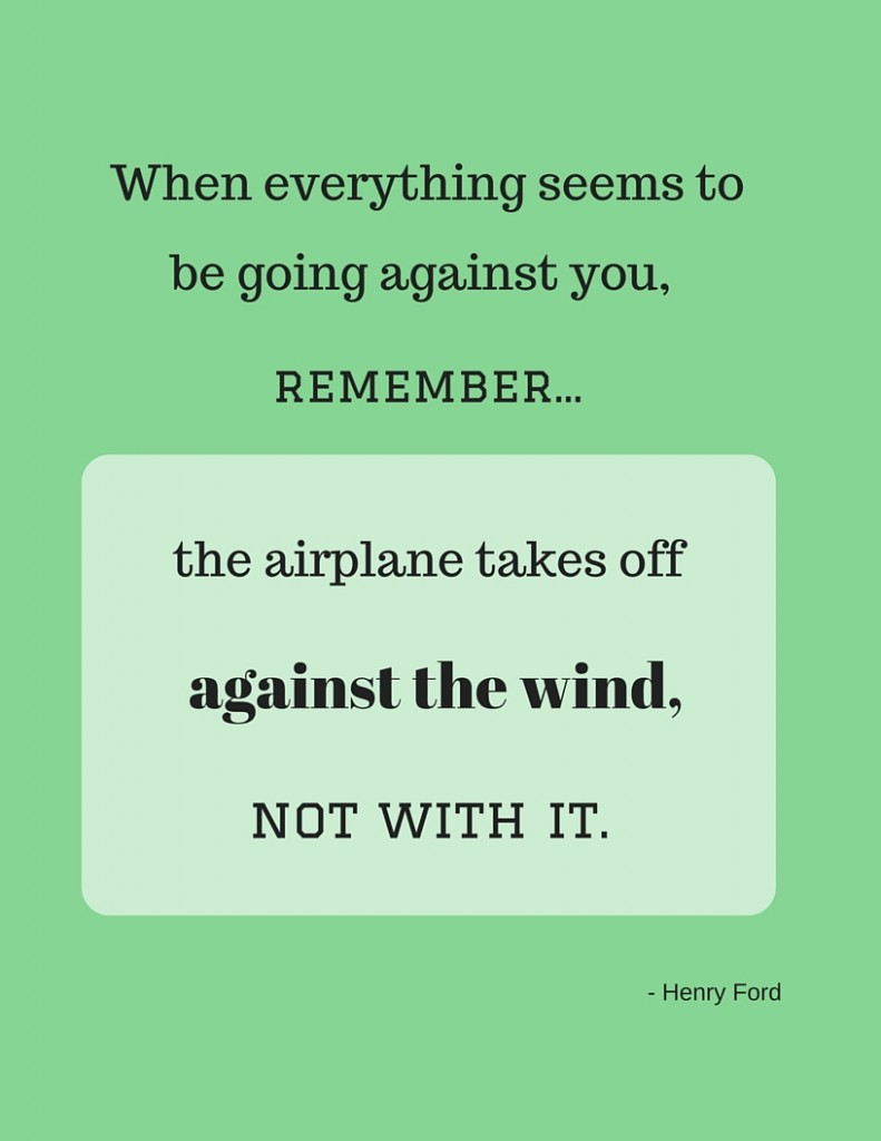 The airplane takes off against the wind