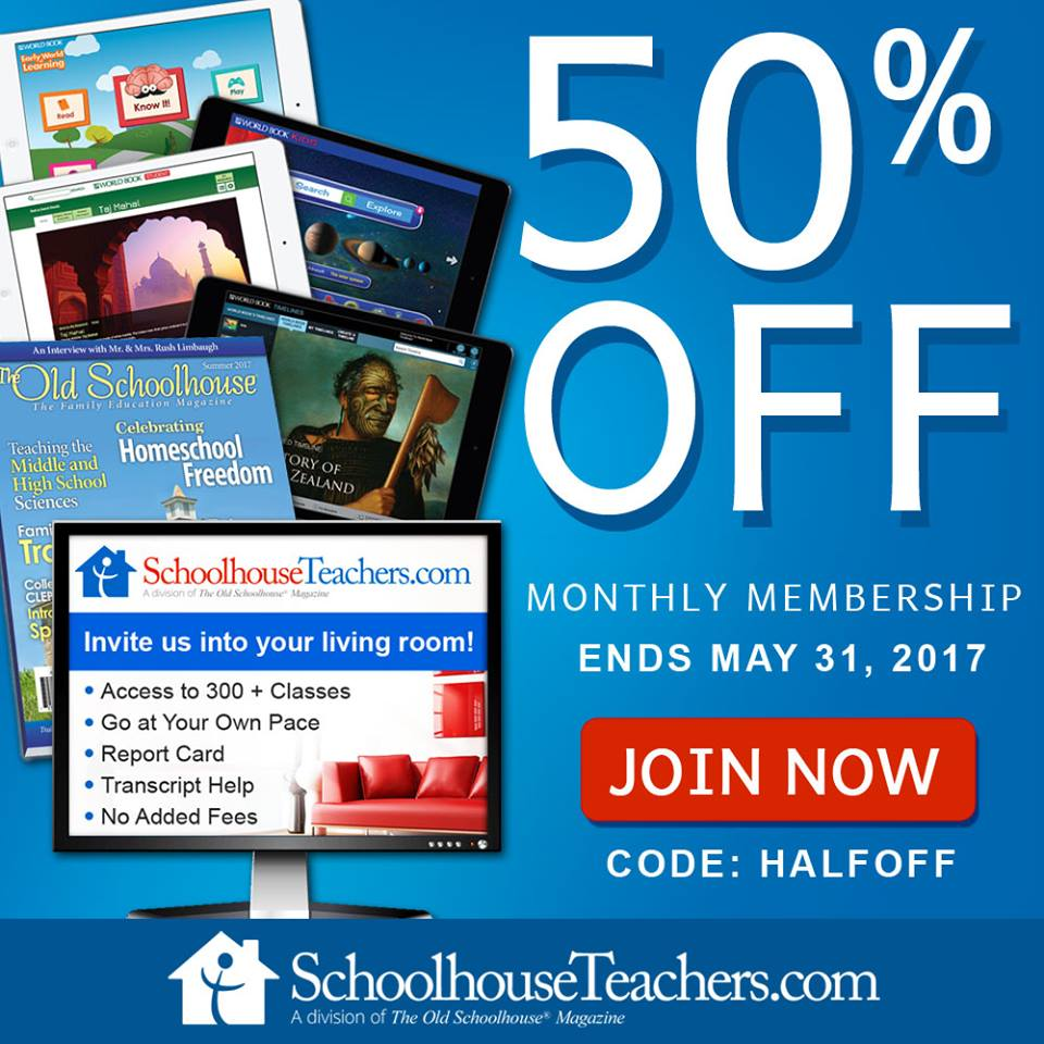 Until the end of May, grab this amazing homeschool resource for half off! At this great price, you've got nothing to lose!